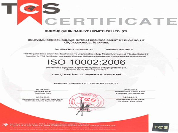 ISO 10002:2006   TCS - CERTIFICATE   05.09.2012