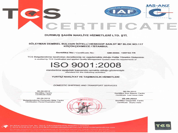 ISO 9001:2008   TCS - CERTIFICATE   05.09.2012
