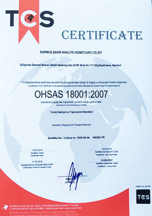 OHSAS 18001:2007   TCS - CERTIFICATE   18.05.2016