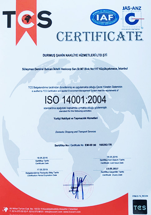 ISO 14001:2004   TCS - CERTIFICATE   18.05.2016