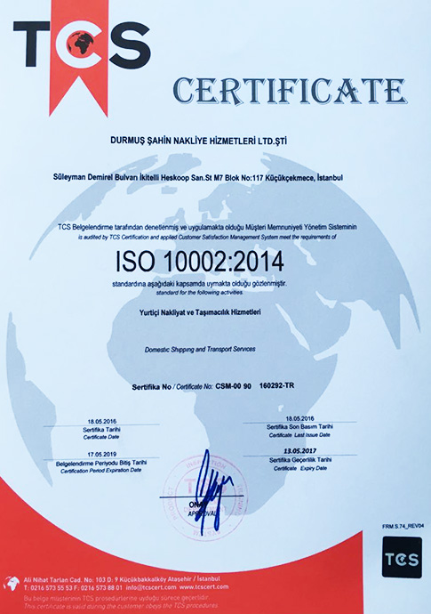 ISO 10002:2014   TCS - CERTIFICATE   18.05.2016